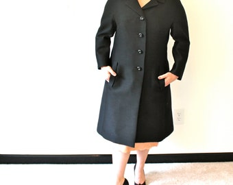 1960s 60s Silk & Wool Black Evening Coat Jacket Damselle New York NY NYC Formal M L 8 10 12 Betty Draper Audrey Hepburn