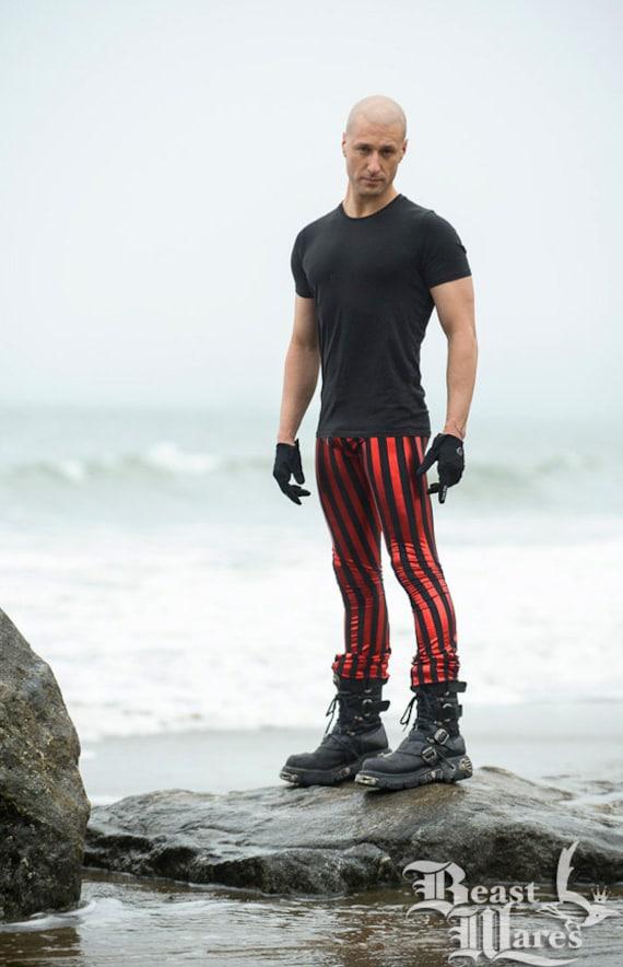 FESTIVAL SALE! Shiny Metallic Red/Black Stripe Pants/Leggings--Size 2X-SMALL--Glitter Britches Jack Sparrows