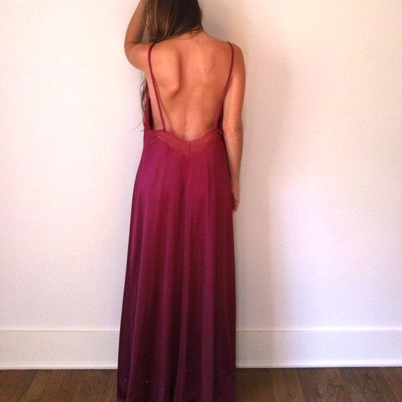 Backless nightie long maxi slip dress vintage floor length night