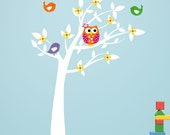 Tree with Owl and Birds Wall Decals - Kids Room and Nursery Decor - Owl Decor