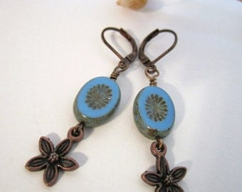 Oval Bead with Antique Copper Flower Earrings