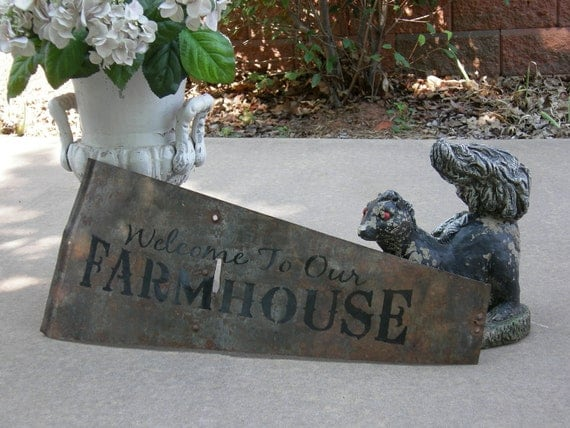 Welcome To Our Farmhouse SIGN On Antique Windmill Blade