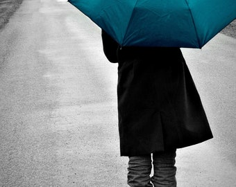 Teal, Turquoise Umbrella Walking in Rain Photograph - Home Decor - Long Walk Home - Original Fine Art Photograph - 5x7 Print