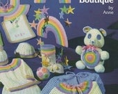 Pdf Pattern. RAINBOW BABY BOUTIQUE Crochet Baby Items. Blankets,Bibs,Dresses,Toys,Bears,Mobile,Bonnet & Booties. Easy Crochet Baby Patterns