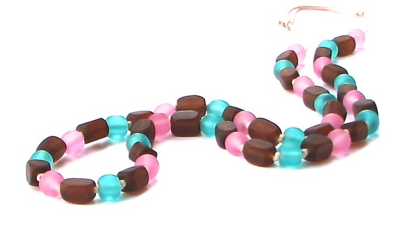 Chunky Resin Breastfeeding Necklace  /Nursing Necklace -Chocolate Brown, Aqua and Pink