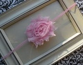 Light Pink Shabby Chic Flower Headband