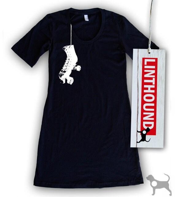 Hanging Roller Skates Navy T-Shirt Dress