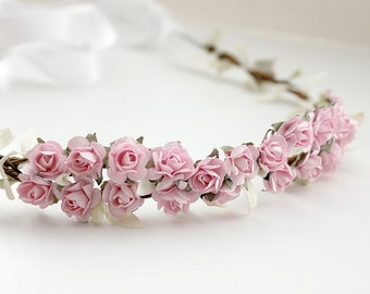 Pink Floral Crown Wedding, Flower Crown. Paper Flowers, Wedding, Roses, Bridal, Hair Accessories - CECILIA - Ethereal, Romantic
