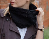 SALE Hand knitted chunky women cowl black for her trends bright