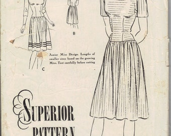 Vintage 1930's Junior's - Teen Dress Pattern, Superior Pattern co F 6605 Sewing Pattern, Size 11