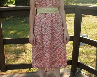 Adorable Modest Sundress---Maternity Sundress---Made to Order---Adjustable Sash---Contrast Optional