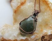 New Jade Nephrite Necklace. Wire Wrapped Nephrite Pendant Long Copper Necklace. Metaphysical Energy Jewelry. Mothers Day Gifts