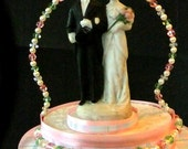 Winter Pink and Green Custom Vintage Style Cake Topper  SAMPLE