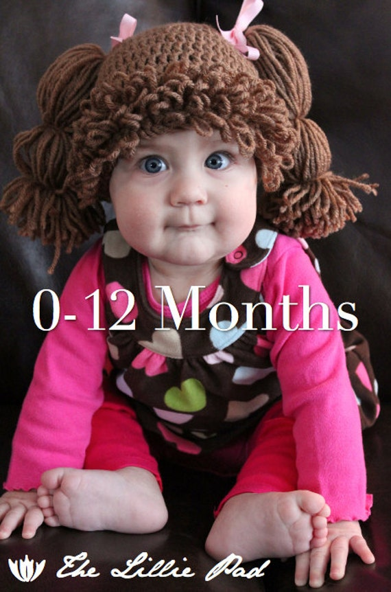 SALE! Cabbage Patch Kid Inspired Crochet Wig/Hat, 0-12 MONTHS Size, Custom made