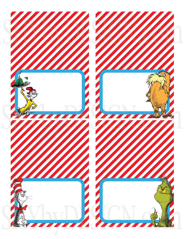 Set of 12 PRINTABLE Dr. Seuss Food & Drink DIY Tent by shydesign