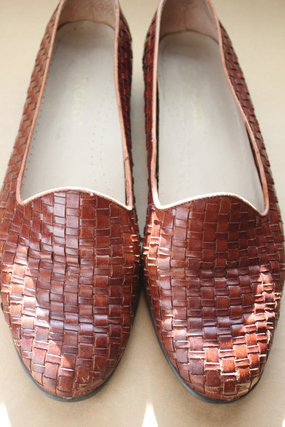 Vintage 1990's Cabin Creek Huarache Woven Cognac Leather Oxford