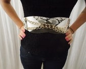 Vintage White High Waist BELT - Gold Chains, Faux Snake, Alligator & Shark Skin, Statement