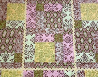 """Pink, Brown and The Elegance of French Couture Combine Beautifully In This 24"""" X 30"""" Carseat/Stroller or Doll Quilt"""
