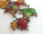 Statement Autumn Leaves Leaf Necklace Copper Fall Trend Colors Seed Bead Jewelry Handmade Viking Knit Maple