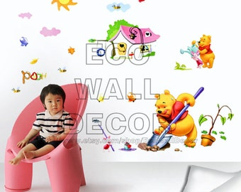 PEEL and STICK Removable Vinyl Wall Sticker Mural Decal Art - Winnie the Pooh Planting Trees