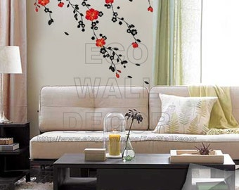 PEEL and STICK Removable Vinyl Wall Sticker Mural Decal Art - Red Blossom In The Wind