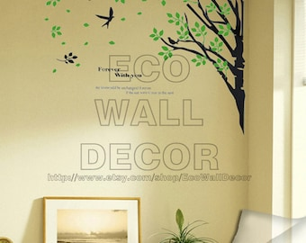 PEEL and STICK Removable Vinyl Wall Sticker Mural Decal Art -  Flower with you Tree Branch and Birds