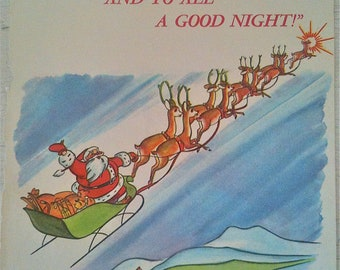 Vintage Christmas Illustration Of Santa Claus From Rudolph the Red Nosed Reindeer 1960