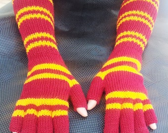 Knitting Service For Custom Mens Long Elbow Length Fingerless Gloves Made to Your Specifications