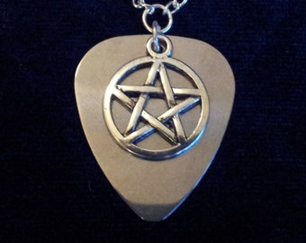 Handmade Stainless Steel Guitar Pick Pendant with Pentagram Charm on Silver Plated Chain Gothic Steampunk Emo Punk
