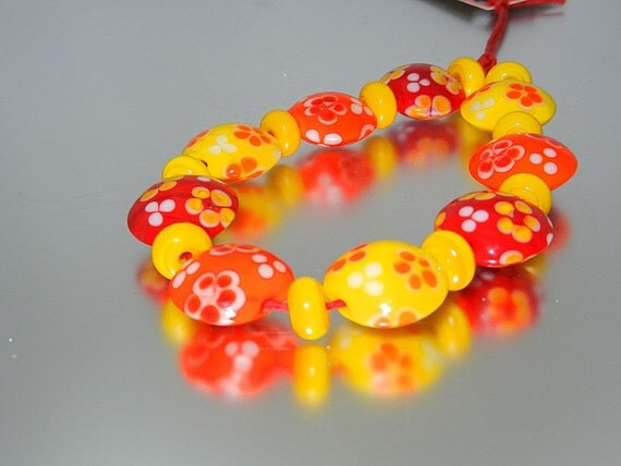 Bright lampwork lentil bead set