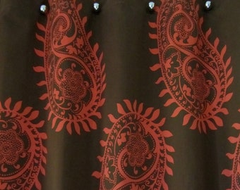orange and brown shower curtain. Mod Paisley Orange and Brown Bold Unique design handmade shower curtain  Etsy