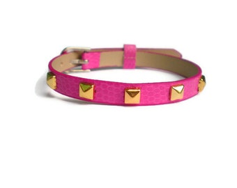 Vegan Leather Bracelet - Leather Wristband - Hot Pink Bracelet -  Gold Pyramid Studs
