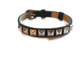 Pyramid Studded Leather Bracelet - Studded Watchband Bracelet - Black Leather Wristband - Friendship Bracelet - Adjustable Leather Bracelet