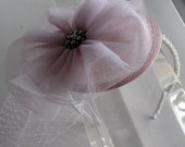 Lilac Purple Tulle Crystal Flower Sinamay Fascinator Hat with Veil and Pearl Beaded Headband, for bridesmaids, weddings, parties