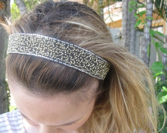 Brown Organza Gold Beaded Elastic Headband, for weddings, parties, evening, special occasions