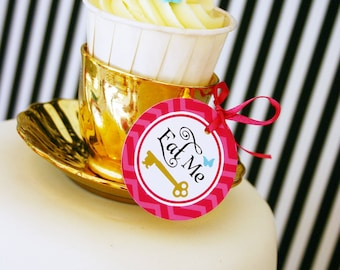 """ALICE in Wonderland Eat Me and Drink Me - Printable 2"""" Party Dots  Instant Download"""