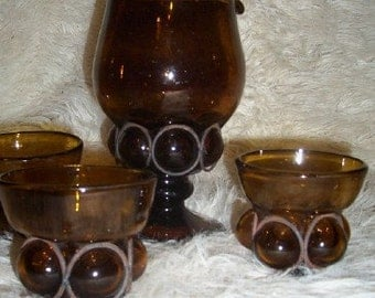 Mid Century Caged Blown Amber Art Glass Pitcher Cups Bubble Imprisoned Italy Handmade