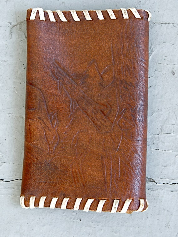 1970s Small Handmade Deer Wallet / Leather Woodland Change Purse