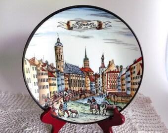 Rare German Porcelain Plate - Munchen - R. Schaller - Das Tal Um 1810 - Kunstwerkstatten