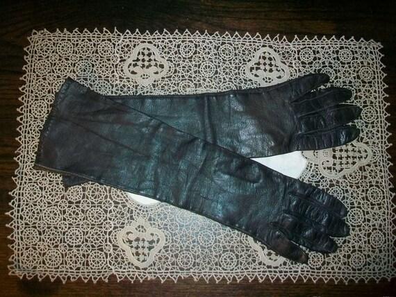 "Vintage Opera Gloves Brown Leather 14"""