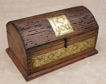 Rustic Jewelry Box - Valentine's Day I LOVE YOU