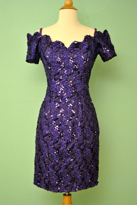Vintage 80s Prom Dress Purple 1980s Sequin Mini - Burlesque Dress