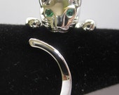 Silver Plated Adjustable Cat Ring with Emerald Green Zirconia Eyes - FREE SHIPPING