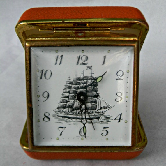 Vintage Travel Clock with Ship Face Made in Germany