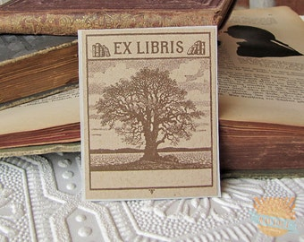 PERSONALIZED Bookplate Stickers- Vintage Inspired- Majestic Oak in Sepia-Set of 10