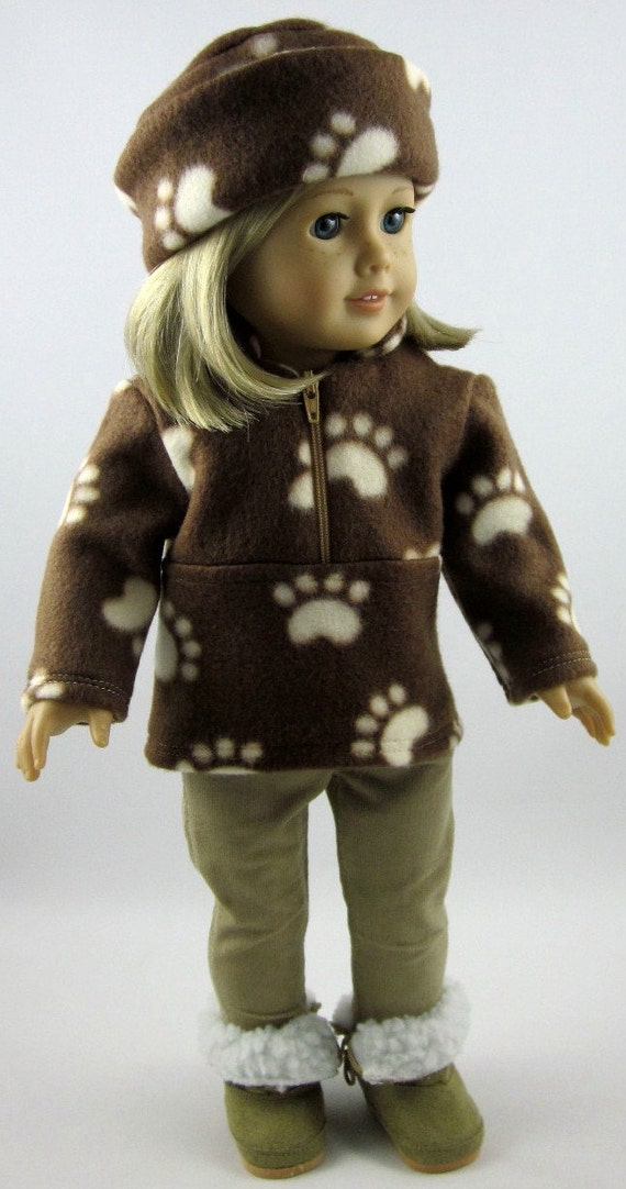 American Girl Doll Clothes - Fleece Pullover, Hat, and Stretch Jeans in Brown and Beige Paw Prints