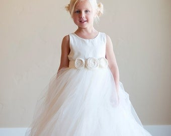 Flower girl dress, ivory flower girl dress, white flower girl dress, flower girl dresses