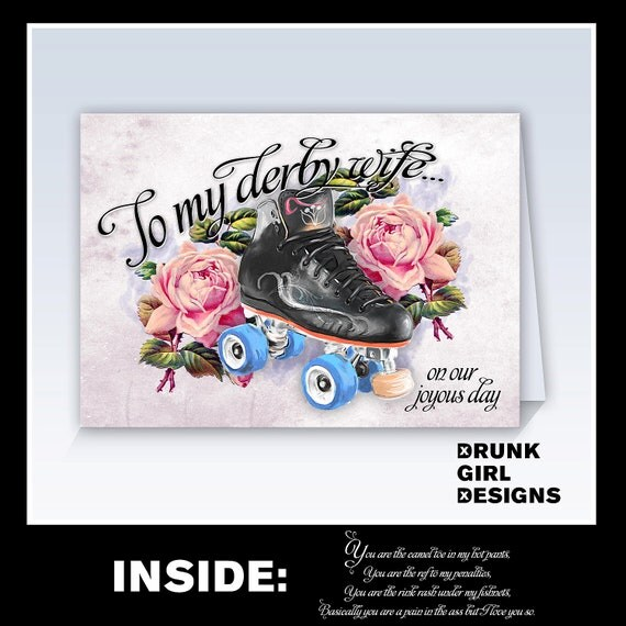 To My Derby Wife, On Our Joyous Day - 5x7 Roller Derby Greeting Card