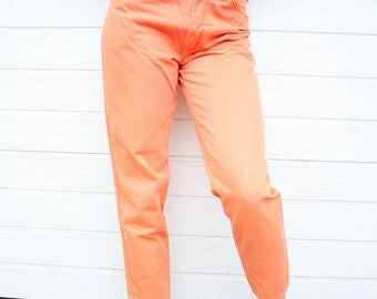 Vintage Tapered Bright Peachy Orange Cotton Pants