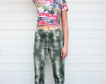 Vintage 90s High Waist Graphic Pixelated Camo Pants